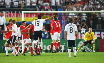 Michael Ballack delivers the Bullet against Austria
