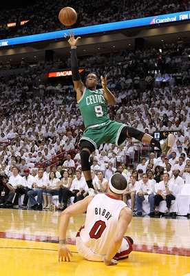 MIAMI, FL - MAY 01:  Rajon Rondo #9 of the Boston Celtics shoots over Mike Bibby #0 of the Miami Heat during Game One of the Eastern Conference Semifinals of the 2011 NBA Playoffs at American Airlines Arena on May 1, 2011 in Miami, Florida. NOTE TO USER: