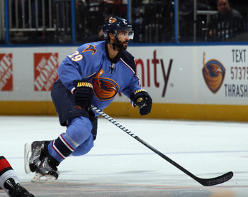 ATLANTA, GA - MARCH 27:  Johnny Oduya #29 of the Atlanta Thrashers skates against the Ottawa Senators at the Philips Arena on March 27, 2011 in Atlanta, Georgia. The Thrashers defeated the 5-4 in the shoot out.  (Photo by Bruce Bennett/Getty Images)