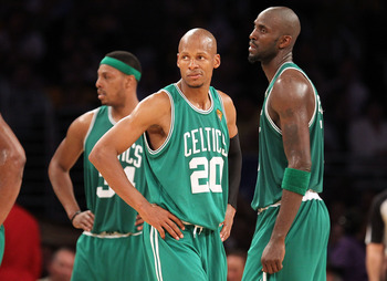LOS ANGELES, CA - JUNE 15:  (L-R) Paul Pierce #34, Ray Allen #20 and Kevin Garnett #5 of the Boston Celtics look on in the second half while taking on the Los Angeles Lakers in Game Six of the 2010 NBA Finals at Staples Center on June 15, 2010 in Los Ange