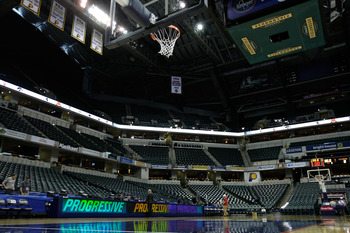 INDIANAPOLIS, IN - MARCH 12:  A general interior view of the empty court during the semifinals of the 2011 Big Ten Men's Basketball Tournament at Conseco Fieldhouse on March 12, 2011 in Indianapolis, Indiana.  (Photo by Andy Lyons/Getty Images)
