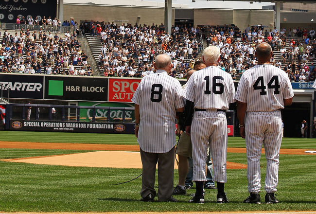 NEW YORK, NY - JUNE 26:  (L-R) Yogi Berra, Whitey Ford, and Reggie Jackson stand during The New York Yankees 65th Old Timers Day game on June 26, 2011 at Yankee Stadium in the Bronx borough of New York City.  (Photo by Al Bello/Getty Images)