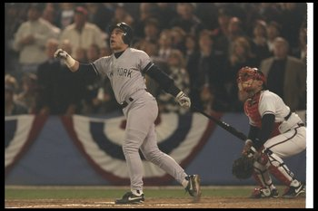 A familiar pose for Leyritz in the postseason.