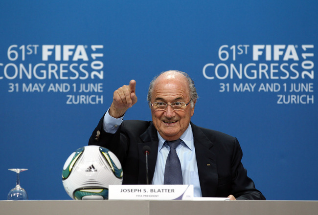 ZURICH, SWITZERLAND - JUNE 01:  President of FIFA, Joseph S.Blatter talks to media at a press conference after being elected again during the 61st FIFA Congress at Hallenstadion on June 1, 2011 in Zurich, Switzerland.  (Photo by Julian Finney/Getty Images