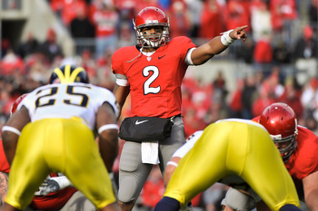 COLUMBUS, OH - NOVEMBER 27:  Quarterback Terrelle Pryor #2 of the Ohio State Buckeyes calls signals at the line against the Michigan Wolverines at Ohio Stadium on November 27, 2010 in Columbus, Ohio.  (Photo by Jamie Sabau/Getty Images)