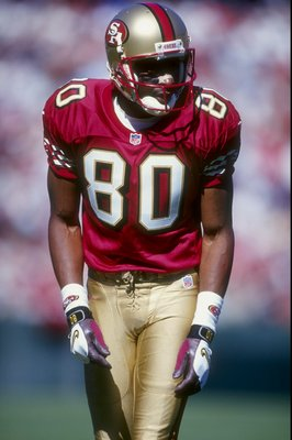 18 Oct 1998:  Wide receiver Jerry Rice #80 of the San Francisco 49ers in action during the game against the Indianapolis Colts at 3 Com Park in San Francisco, California. The 49ers defeated the Colts 34-31. Mandatory Credit: Jed Jacobsohn  /Allsport