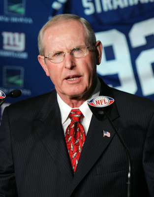 EAST RUTHERFORD, NJ - JUNE 10: New York Giants Head Coach Tom Coughlin addresses the media at a press conference where Michael Strahan announced his retirement from the New York Giants on June 10, 2008 at Giants Stadium in East Rutherford, New Jersey.  (P