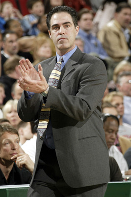 SEATTLE - APRIL 1:  Head coach Kevin Pritchard of the Portland Trail Blazers claps during the game against the Seattle Sonics at Key Arena on April 1, 2005 in Seattle, Washington.  The Sonics won 89-87.  NOTE TO USER: User expressly acknowledges and agree