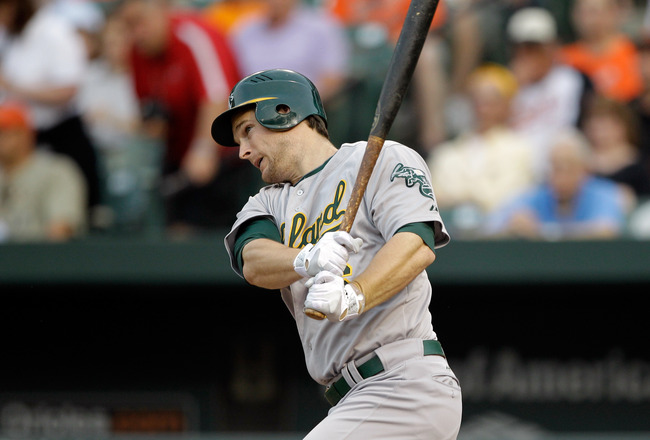 BALTIMORE, MD - JUNE 07:  Josh Willingham #16 of the Oakland Athletics at the plate against the Baltimore Orioles at Oriole Park at Camden Yards on June 7, 2011 in Baltimore, Maryland.  (Photo by Rob Carr/Getty Images)