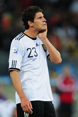 DURBAN, SOUTH AFRICA - JULY 07:  Dejected Mario Gomez of Germany after being knocked out of the tournament during the 2010 FIFA World Cup South Africa Semi Final match between Germany and Spain at Durban Stadium on July 7, 2010 in Durban, South Africa.  (