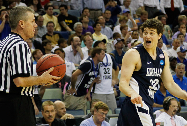 NEW ORLEANS, LA - MARCH 24:  Jimmer Fredette #32 of the Brigham Young Cougars reacts while talking to an official during their game against the Florida Gators in the Southeast regional of the 2011 NCAA men's basketball tournament at New Orleans Arena on M