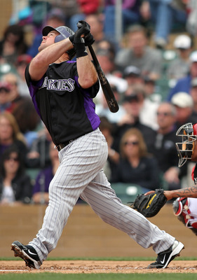 SCOTTSDALE, AZ - FEBRUARY 26:  Ty Wiggington #21 of the Colorado Rockies swings against the Arizona Diamondbacks at Salt River Fields on February 26, 2011 in Scottsdale, Arizona..  (Photo by Jonathan Ferrey/Getty Images)