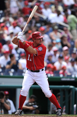 WASHINGTON, DC - JUNE 18: Ryan Zimmerman #11 of the Washington Nationals bats against the Baltimore Orioles at Nationals Park on June 18, 2011 in Washington, DC. (Photo by Patrick Smith/Getty Images)