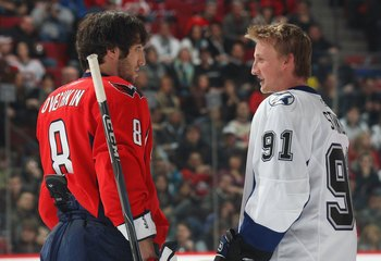 MONTREAL - JANUARY 24:  Alex Ovechkin #8 and Steven Stamkos #91 confer during the Honda NHL Superskills competition as part of the 2009 NHL All-Star weekend on January 24, 2009 at the Bell Centre in Montreal, Canada. (Photo by Bruce Bennett/Getty Images)