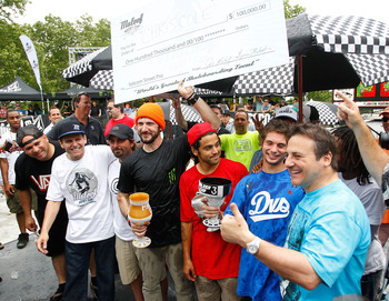 NEW YORK - JUNE 06:  Chris Cole (center) celebrates his first place win at the Maloof Money Cup with Joe Maloof (second from left), Paul Rodriguez (right of center), Torey Pudwill (second from right), and Gavin Maloof (right) on June 6, 2010 at Flushing M