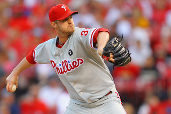 ST. LOUIS, MO - JUNE 23: Reliever Kyle Kendrick #38 of the Philadelphia Phillies pitches against the St. Louis Cardinals at Busch Stadium on June 23, 2011 in St. Louis, Missouri.  (Photo by Dilip Vishwanat/Getty Images)