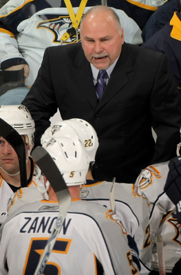 DENVER - NOVEMBER 08:  Head coach Barry Trotz of the Nashville Predators leads his team against the Colorado Avalanche during NHL action at the Pepsi Center on November 8, 2008 in Denver, Colorado. The Avalanche defeated the Predators 1-0.  (Photo by Doug