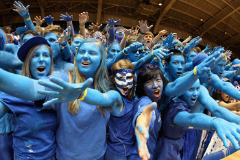 DURHAM, NC - FEBRUARY 09:  Cameron Crazies heckle the North Carolina Tar Heels before the start of their game at Cameron Indoor Stadium on February 9, 2011 in Durham, North Carolina.  (Photo by Streeter Lecka/Getty Images)