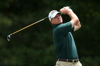 BETHESDA, MD - JUNE 18:  Steve Stricker watches his tee shot on the second hole during the third round of the 111th U.S. Open at Congressional Country Club on June 18, 2011 in Bethesda, Maryland.  (Photo by Andrew Redington/Getty Images)