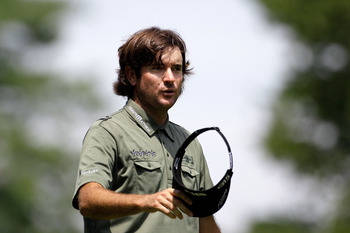 BETHESDA, MD - JUNE 18:  Bubba Watson waves to the gallery on the ninth hole during the third round of the 111th U.S. Open at Congressional Country Club on June 18, 2011 in Bethesda, Maryland.  (Photo by Rob Carr/Getty Images)