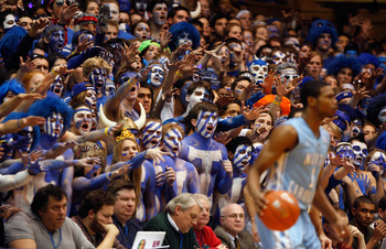 DURHAM, NC - FEBRUARY 09:  Cameron Crazies heckle the North Carolina Tar Heels during their game at Cameron Indoor Stadium on February 9, 2011 in Durham, North Carolina.  (Photo by Streeter Lecka/Getty Images)