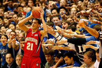 DURHAM, NC - JANUARY 24:  Greivis Vasquez #21 of the Maryland Terrapins is heckled by the Cameron Crazies during the game against the Duke Blue Devils on January 24, 2009 at Cameron Indoor Stadium in Durham, North Carolina.  (Photo by Kevin C. Cox/Getty I
