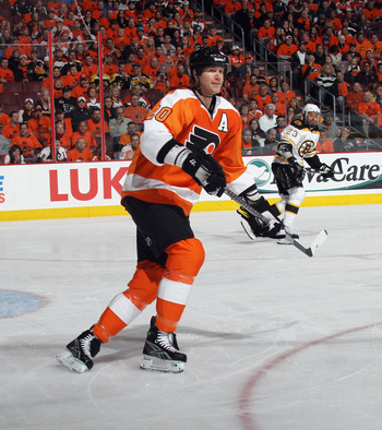 PHILADELPHIA, PA - APRIL 30:  Chris Pronger #20 of the Philadelphia Flyers skates against the Boston Bruins in Game One of the Eastern Conference Semifinals during the 2011 NHL Stanley Cup Playoffs at the Wells Fargo Center on April 30, 2011 in Philadelph