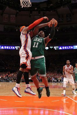 NEW YORK, NY - APRIL 24:  Glen Davis #11 of the Boston Celtics drives for a shot attempt against Carmelo Anthony #7 of the New York Knicks in Game Four of the Eastern Conference Quarterfinals during the 2011 NBA Playoffs on April 24, 2011 at Madison Squar