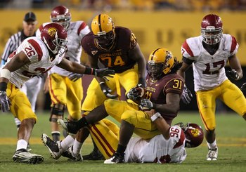 TEMPE, AZ - NOVEMBER 07:  Runningback Dimitri Nance #31 of the Arizona State Sun Devils rushes the football against the USC Trojans during the college football game at Sun Devil Stadium on November 7, 2009 in Tempe, Arizona. The Trojans defeated the Devil