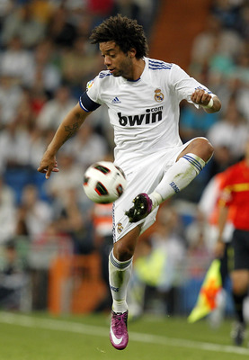 MADRID, SPAIN - MAY 10: Marcelo Vieira of Real Madrid controls the ball during the La Liga match between Real Madrid and Getafe at Estadio Santiago Bernabeu on May 10, 2011 in Madrid, Spain. (Photo by Angel Martinez/Getty Images)