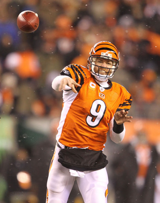 CINCINNATI - DECEMBER 26:  Carson Palmer #9 of the Cincinnati Bengals throws a pass during the NFL game against the San Diego Chargers at Paul Brown Stadium on December 26, 2010 in Cincinnati, Ohio. The Bengals 34-20.  (Photo by Andy Lyons/Getty Images)