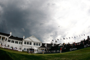 BLOOMFIELD HILLS, MI - AUGUST 09:  A general view of the clubhouse seen during a weather delay due to an approaching rainstorm during round three of the 90th PGA Championship at Oakland Hills Country Club on August 9, 2008 in Bloomfield Township, Michigan