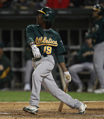 CHICAGO, IL - JUNE 10:  Jemile Weeks #19 of the Oakland Athletics hits the ball against the Chicago White Sox at U.S. Cellular Field on June 10, 2011 in Chicago, Illinois. The Athletics defeated the White Sox 7-5.  (Photo by Jonathan Daniel/Getty Images)