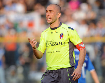 BRESCIA, ITALY - APRIL 02:  Marco Di Vaio of Bologna FC looks on during the Serie A match between Brescia Calcio and Bologna FC at Mario Rigamonti Stadium on April 2, 2011 in Brescia, Italy.  (Photo by Valerio Pennicino/Getty Images)