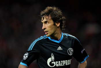 MANCHESTER, ENGLAND - MAY 04:   Raul Gonzalez of Schalke looks on during the UEFA Champions League Semi Final second leg match between Manchester United and Schalke at Old Trafford on May 4, 2011 in Manchester, England.  (Photo by Michael Regan/Getty Imag
