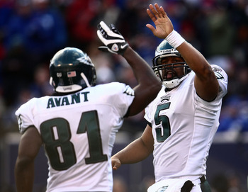 EAST RUTHERFORD, NJ - JANUARY 11:  Donovan McNabb #5 of the Philadelphia Eagles celebrates with Jason Avant #81 after scoring a touchdown against the New York Giants during the NFC Divisional Playoff Game on January 11, 2009 at Giants Stadium in East Ruth