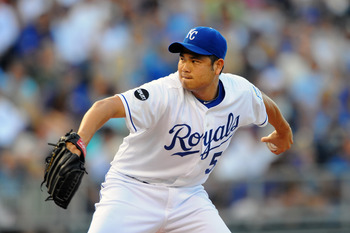 KANSAS CITY, MO - JUNE 24:  Starting pitcher Bruce Chen #52 of the Kansas City Royals pitches against the Chicago Cubs at Kauffman Stadium on June 24, 2011 in Kansas City, Missouri. (Photo by G. Newman Lowrance/Getty Images)