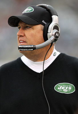 EAST RUTHERFORD, NJ - JANUARY 02:  Head coach Rex Ryan of the New York Jets looks on against the Buffalo Bills during their game at New Meadowlands Stadium on January 2, 2011 in East Rutherford, New Jersey.  (Photo by Al Bello/Getty Images)
