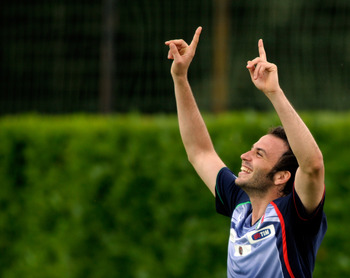 FLORENCE, ITALY - JUNE 01:  Giampaolo Pazzini of Italy during a training session ahead of the UEFA EURO 2012 qualifier against Estonia at Coverciano on June 1, 2011 in Florence, Italy.  (Photo by Claudio Villa/Getty Images)