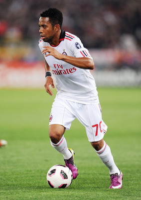 ROME, ITALY - MAY 07:  Robinho of Milan in action during the Serie A match between AS Roma and AC Milan at Stadio Olimpico on May 7, 2011 in Rome, Italy.  (Photo by Giuseppe Bellini/Getty Images)