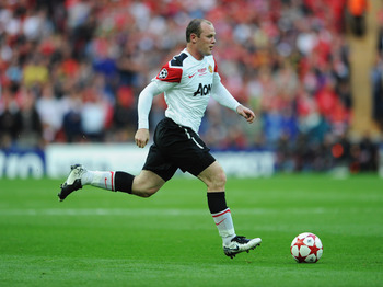 LONDON, ENGLAND - MAY 28:  Wayne Rooney of Manchester United  in action during the UEFA Champions League final between FC Barcelona and Manchester United FC at Wembley Stadium on May 28, 2011 in London, England.  (Photo by Jasper Juinen/Getty Images)