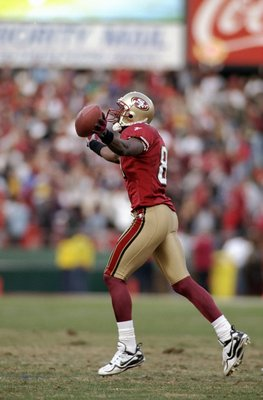 3 Jan 1999:  Terrell Owens #81 of the San Francisco 49ers celebrates with the ball during the NFC Wild Card Game against the Green Bay Packers at the 3 Comm Park in San Francisco, California. The 49ers defeated the Packers 24-17. Mandatory Credit: Jed Jac