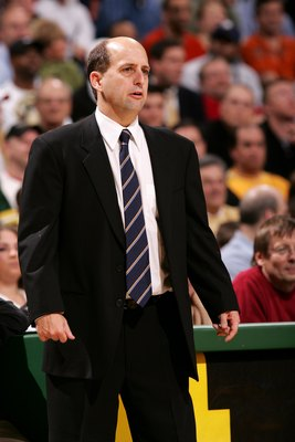 MILWAUKEE - NOVEMBER 8:  Head coach Jeff Van Gundy of the Houston Rockets watches the game against the Milwaukee Bucks on November 8, 2006 at the Bradley Center in Milwaukee, Wisconsin. The Rockets won 97-93. NOTE TO USER: User expressly acknowledges and