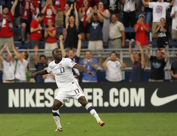 KANSAS CITY, MO - JUNE 14:  Jozy Altidore #17 of the USA celebrates after scoring a goal during the first half of the GoldCup game against Guadeloupe on June 14, 2011 at LiveStrong Sporting Park in Kansas City, Kansas.  (Photo by Jamie Squire/Getty Images