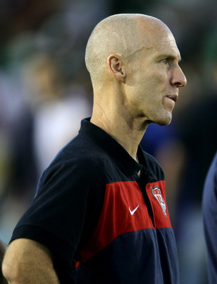 PASADENA, CA - JUNE 25:  Head coach Bob Bradley of the United States waits for the award ceremony after the game with Mexico during the 2011 CONCACAF Gold Championship at the Rose Bowl on June 25, 2011 in Pasadena, California. Mexico won 4-2.  (Photo by S