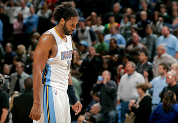 DENVER, CO - APRIL 23:  Nene #31 of the Denver Nuggets walks off the court following a 97-94 loss to the Oklahoma City Thunder in Game Three of the Western Conference Quarterfinals in the 2011 NBA Playoffs at Pepsi Center on April 23, 2011 in Denver, Colo