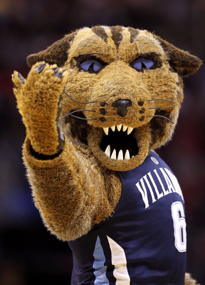 CLEVELAND, OH - MARCH 18: The Villanova Wildcats mascot walks on the court during the game against the George Mason Patriots during the second round of the 2011 NCAA men's basketball tournament at Quicken Loans Arena on March 18, 2011 in Cleveland, Ohio.
