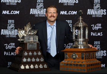 LAS VEGAS, NV - JUNE 22:  Tim Thomas of the Boston Bruins poses after winning both the Vezina Trophy and the Conn Smythe during the 2011 NHL Awards at The Pearl concert theater at the Palms Casino Resort June 22, 2011 in Las Vegas, Nevada.  (Photo by Bruc