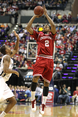 INDIANAPOLIS, IN - MARCH 10:  Christian Watford #2 of the Indiana Hoosiers attempts a shot against the Penn State Nittany Lions during the first round of the 2011 Big Ten Men's Basketball Tournament at Conseco Fieldhouse on March 10, 2011 in Indianapolis,