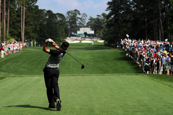 AUGUSTA, GA - APRIL 10:  Rory McIlroy of Northern Ireland hits a tee shot on the seventh hole during the final round of the 2011 Masters Tournament at Augusta National Golf Club on April 10, 2011 in Augusta, Georgia.  (Photo by Harry How/Getty Images)
